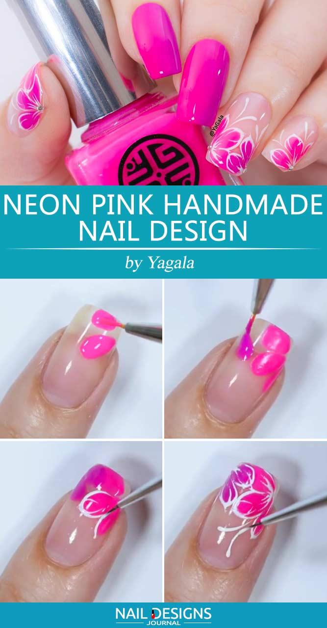 Neon Pink Handmade Nail Design