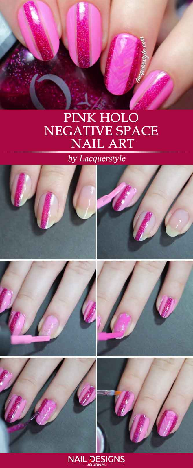 Pink Holo Negative Space Nail Art