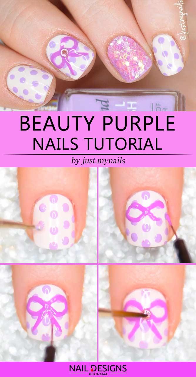 Beauty Purple Nails Tutorial