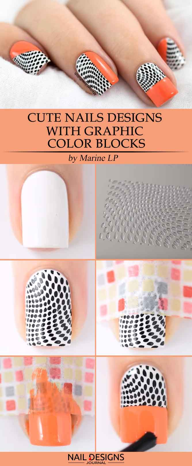 Cute Nails Designs with Graphic Color Blocks