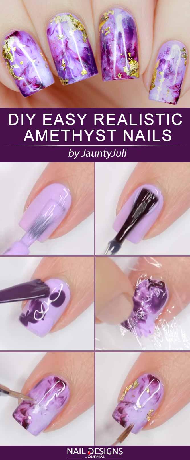 DIY Easy Realistic Amethyst Nails #amethystnails #marblenails #purplenails #foilnails #squarenails