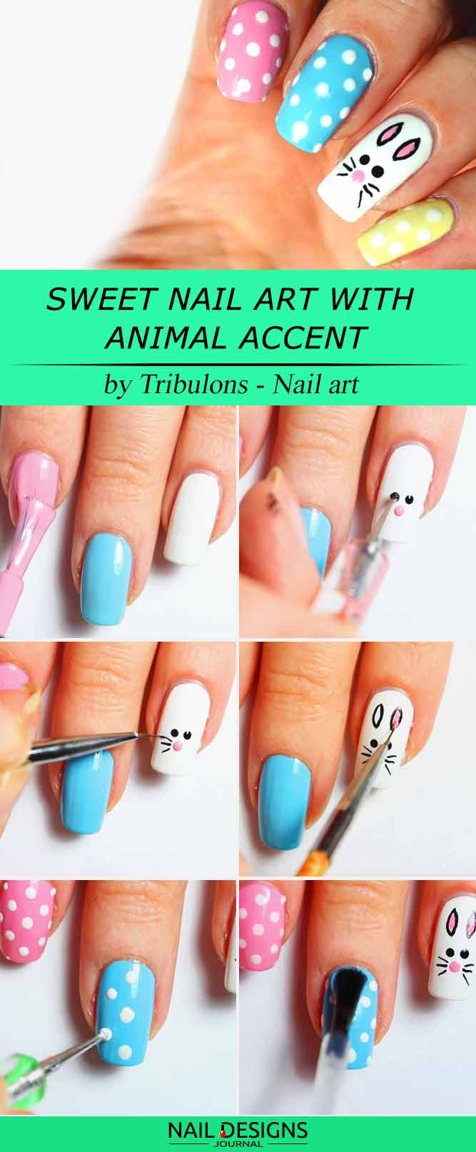 Sweet Nail Art With Animal Accent