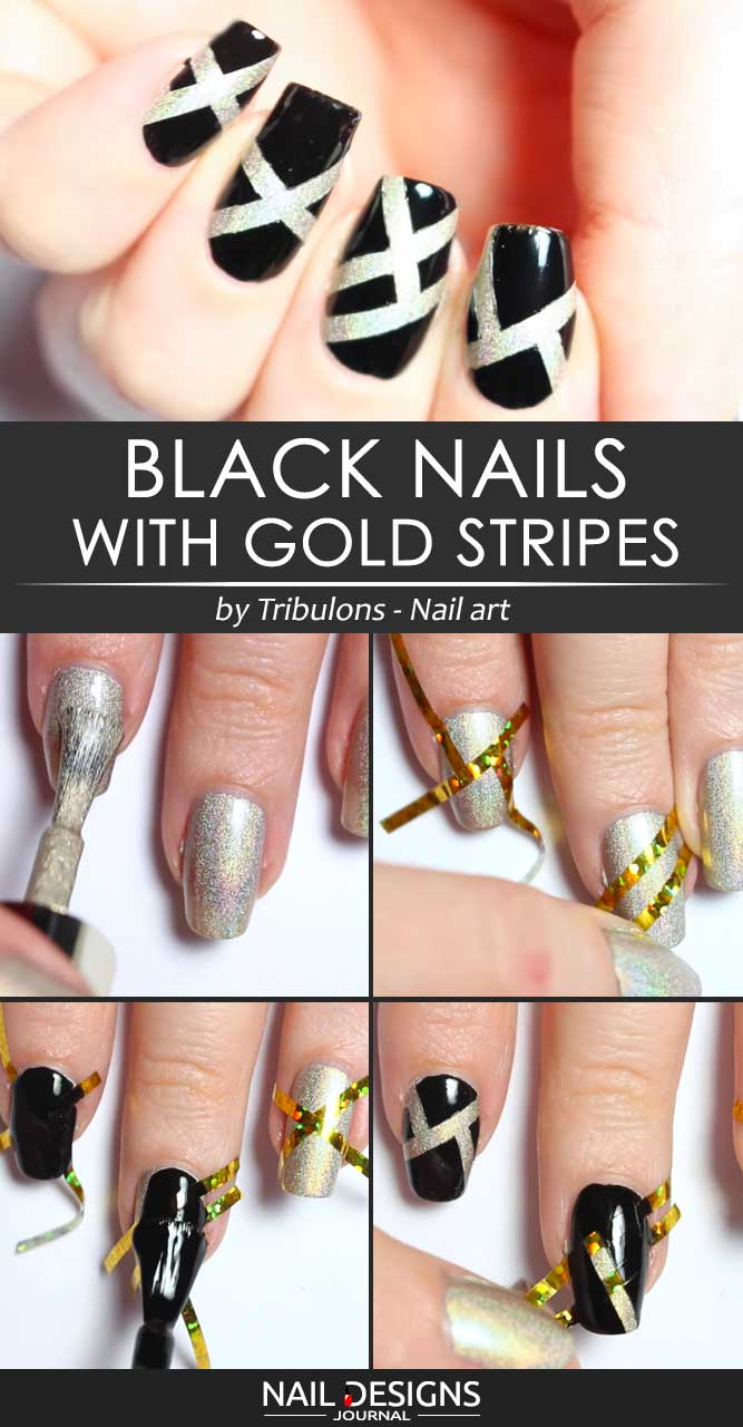 Black Nails With Gold Stripes