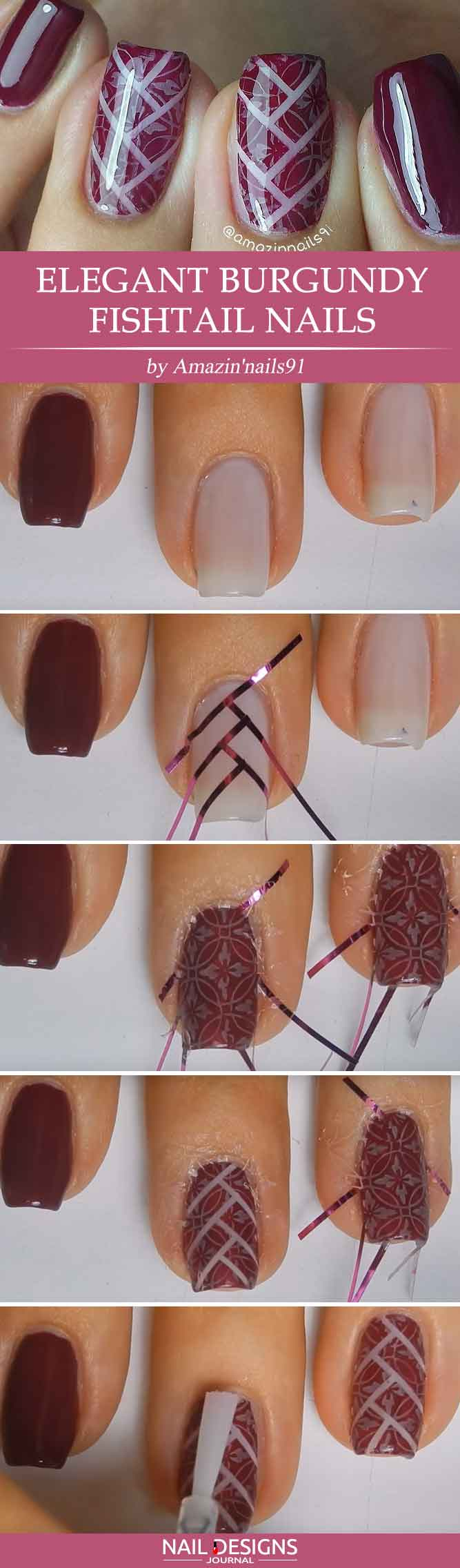 Elegant Burgundy Fishtail Nails
