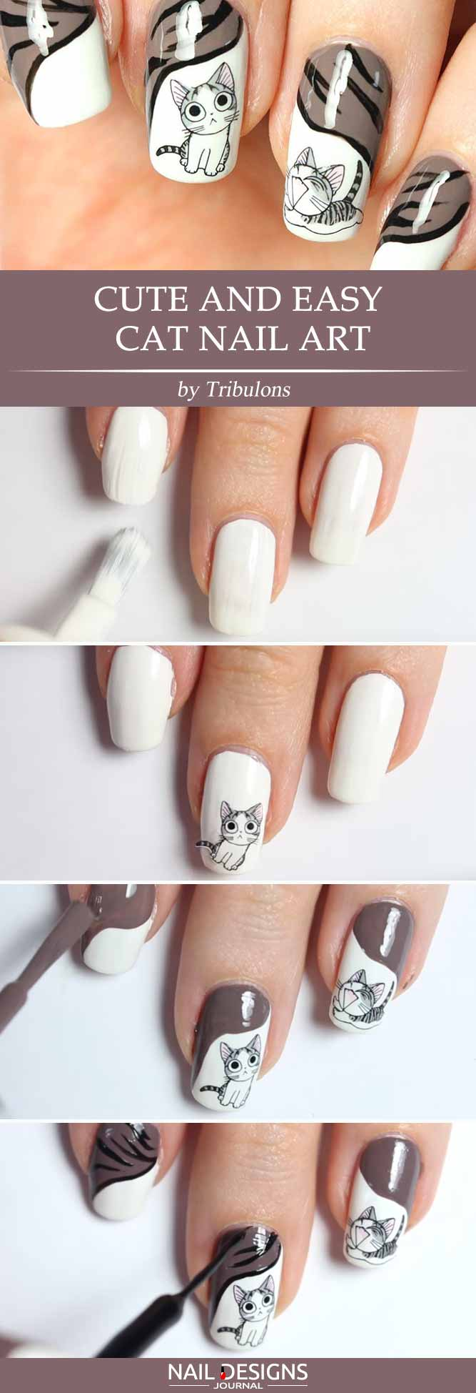 10 diy nails ideas to shine brighter naildesignsjournal easy cat nail art prinsesfo Image collections