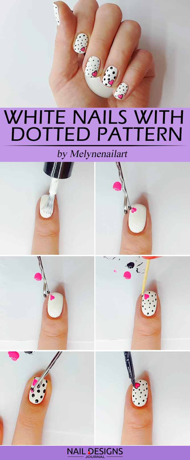 White Nails With Dotted Pattern