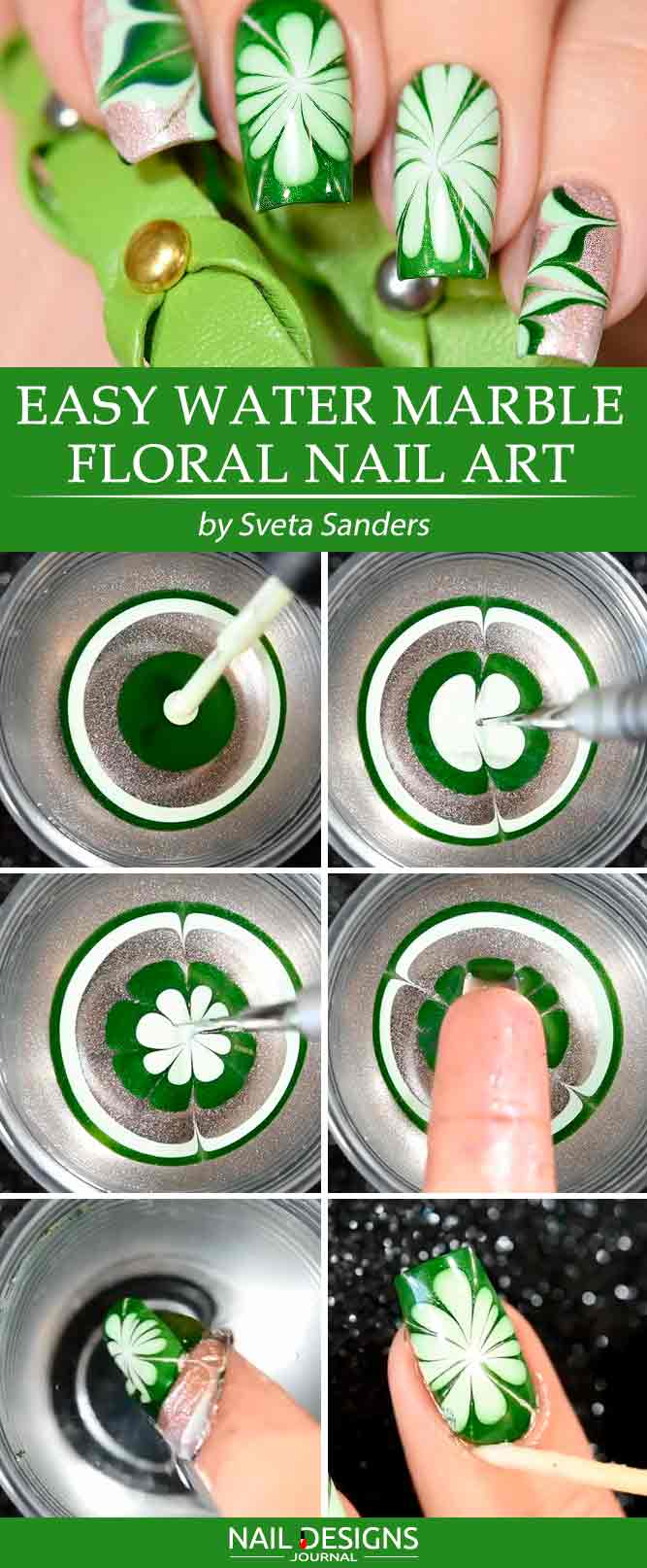 Easy Water Marble Floral Nail Art