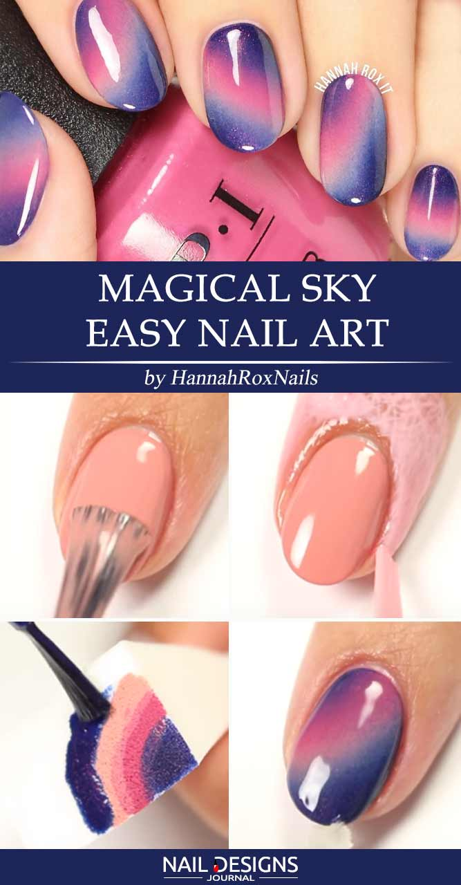 Magical Sky Easy Nail Art
