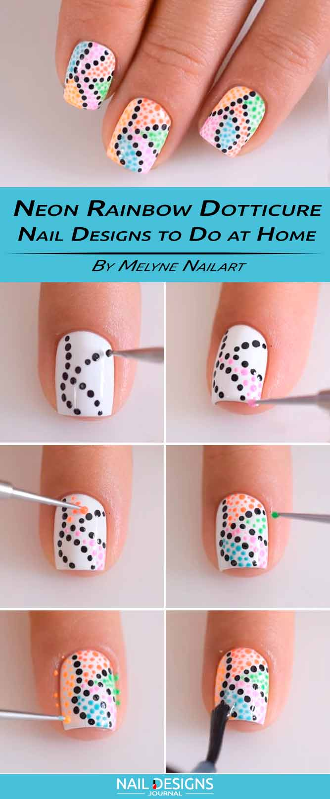 Neon Rainbow Dotticure Nail Designs