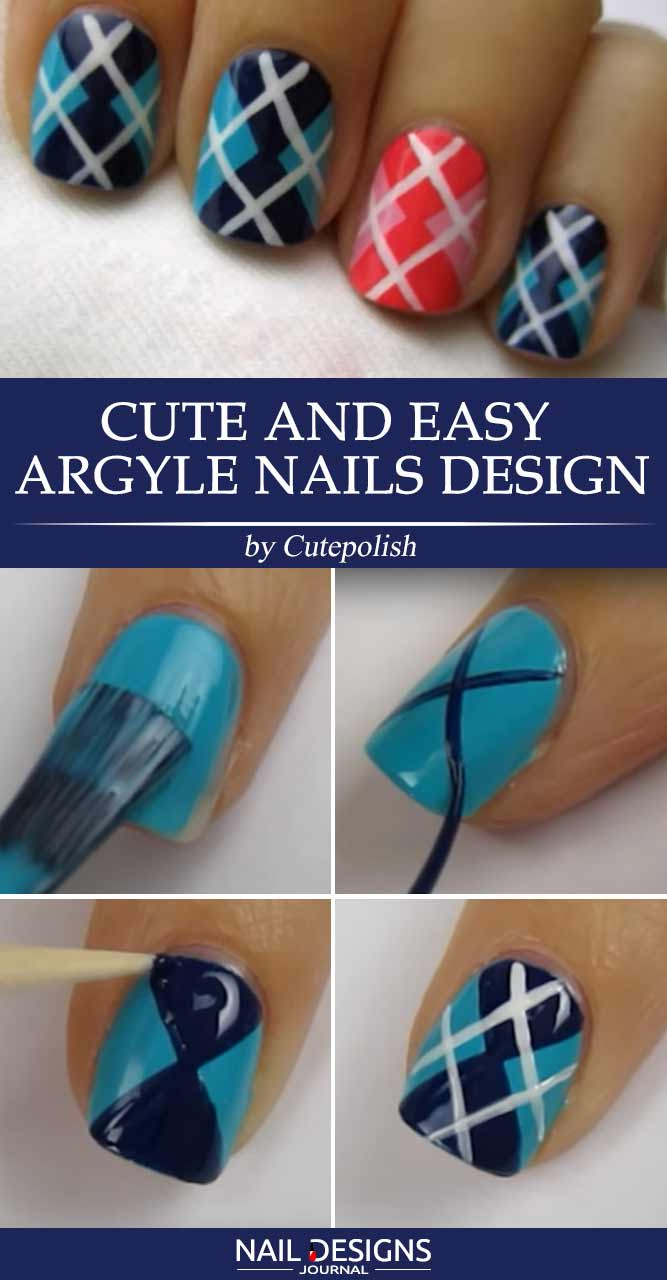 Cute And Easy Argyle Nails Designs