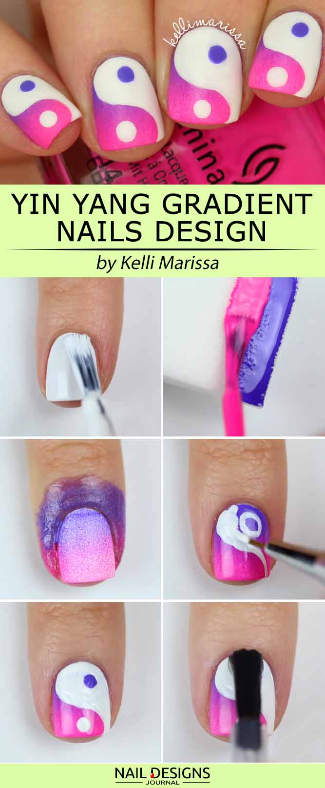 Yin Yang Gradient Nail Art