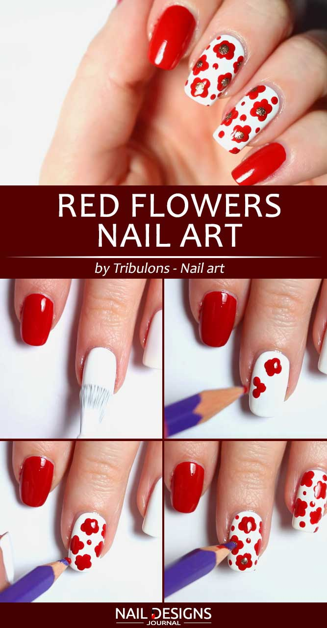 Red Flowers Nail Art