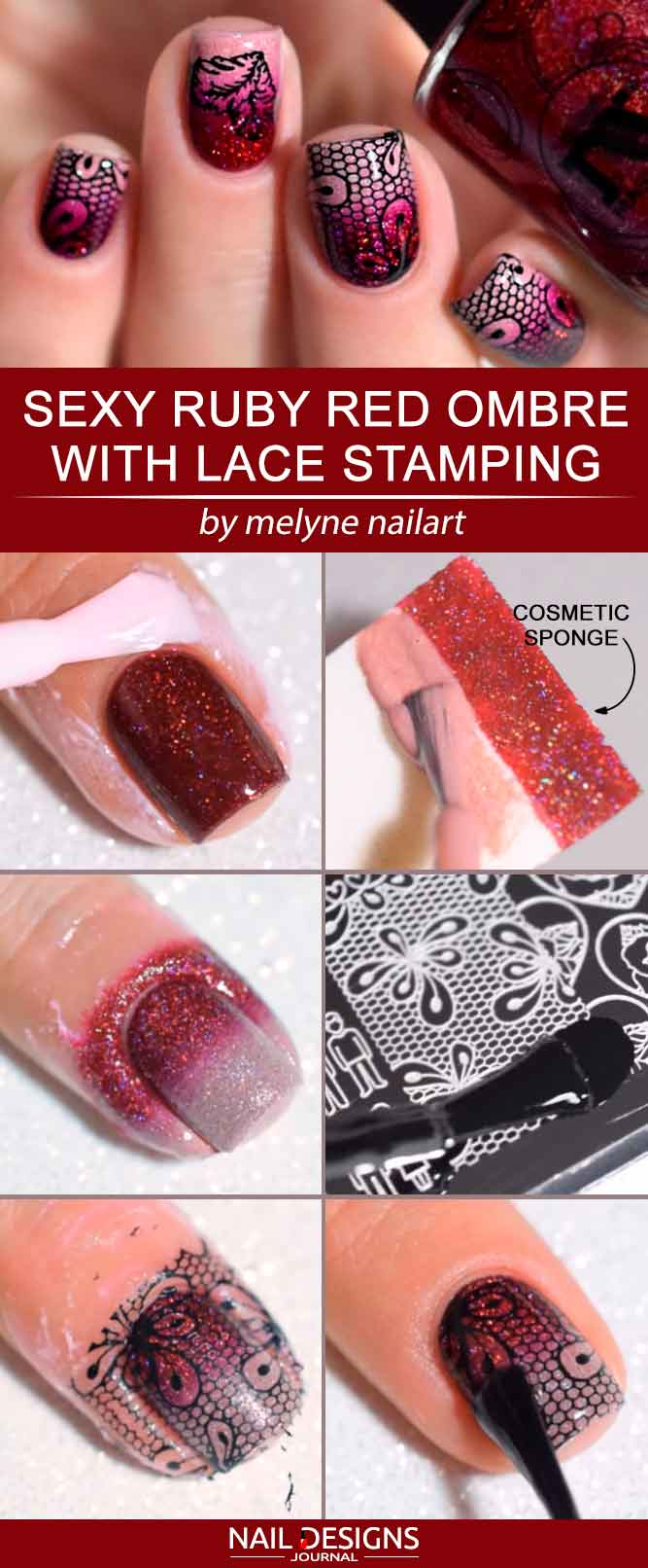 Sexy Ruby Red Ombre With Lace Stamping #rednails #ombrenails #stampingnails #lacenails