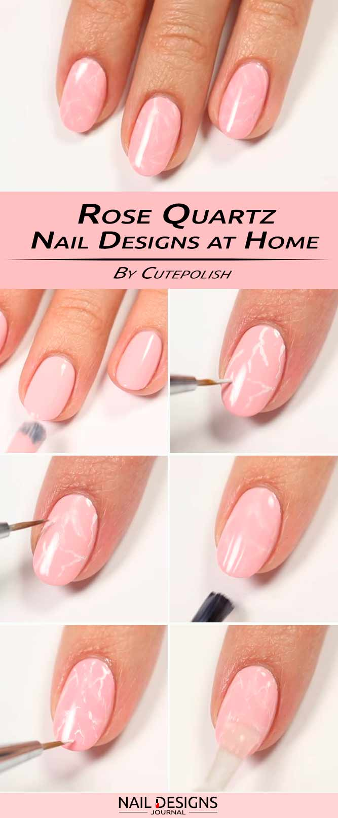 Charming Rose Quartz Simple DIY Nails