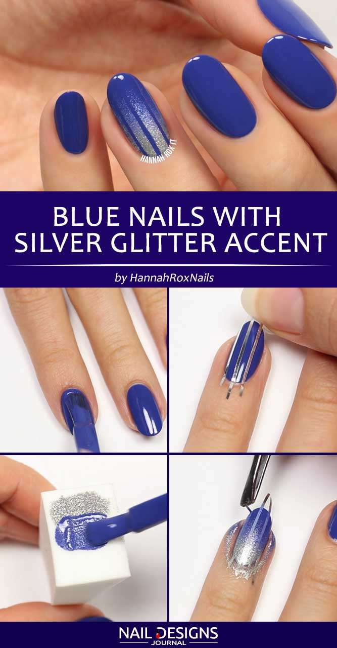 Blue Nails With Silver Glitter Accent