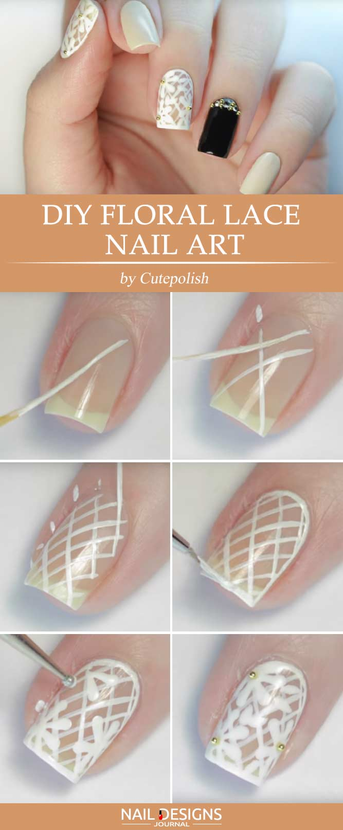 Tutorial How To Do Nail Designs With Floral Lace For Sophisticated Ladies