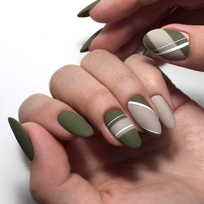 Deep Green And Neutral Nail Art Combination
