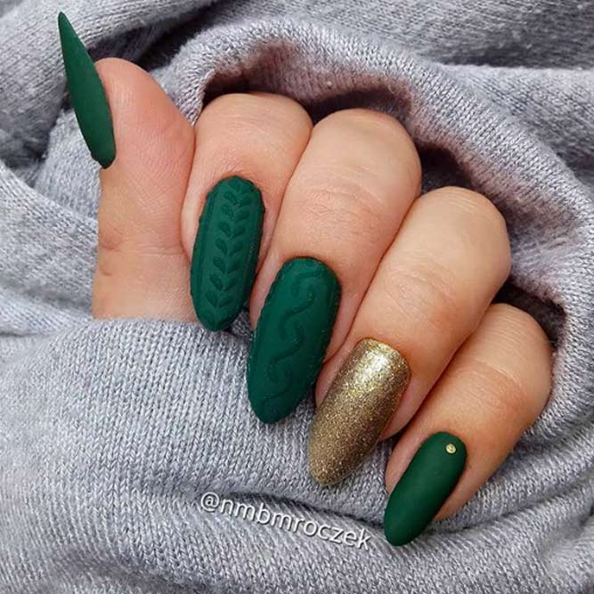 Matte Nails With Knitted Pattern