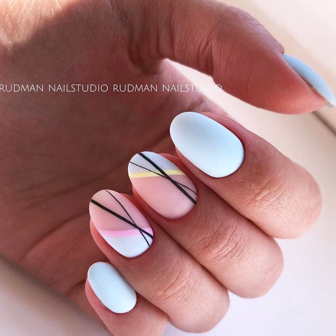 Pastel Blue Nails With Black Strip