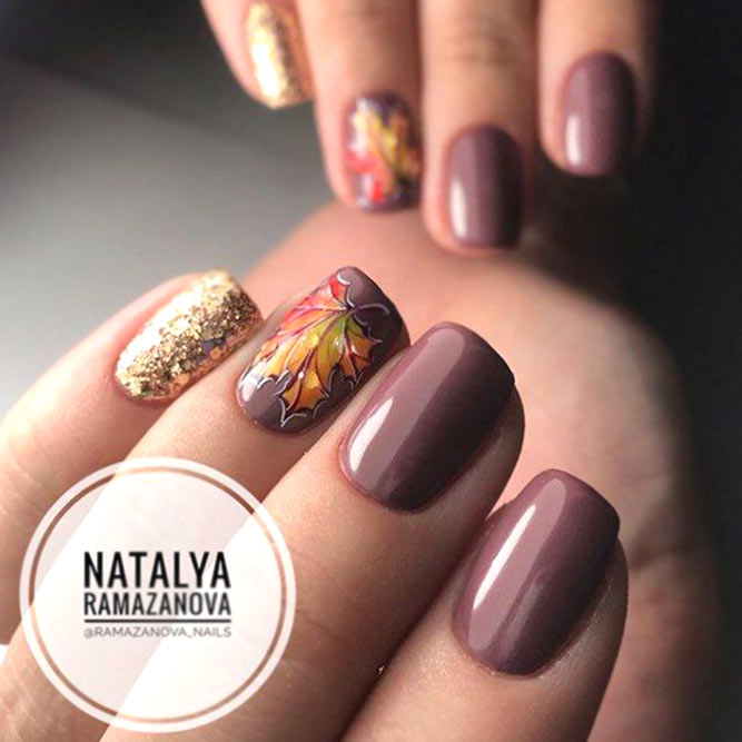 Taupe Color With Gold Glitter And Fallen Leaves