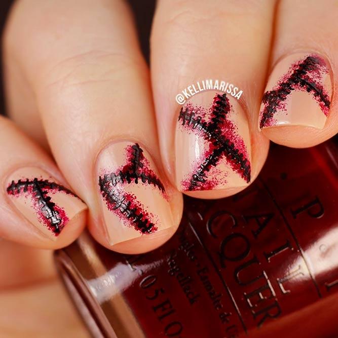 Imitation Of Bloody Stitches