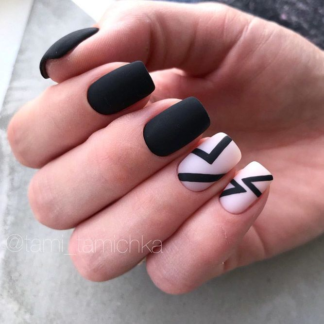 Classic Black Nails With Matte Effect