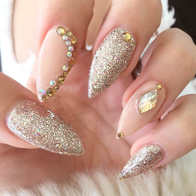 Gorgeous Nude and Gold Nails You Will Love picture 2