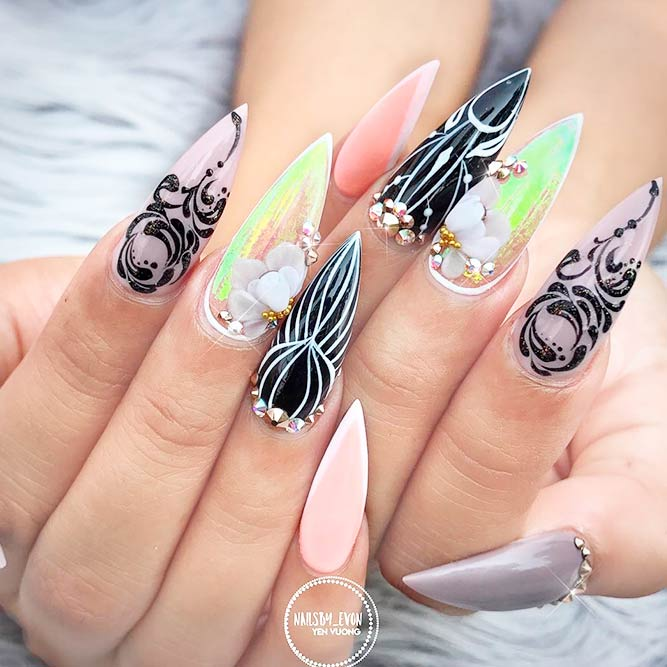 Stunning Bright Colored Stiletto Nail Designs picture 2