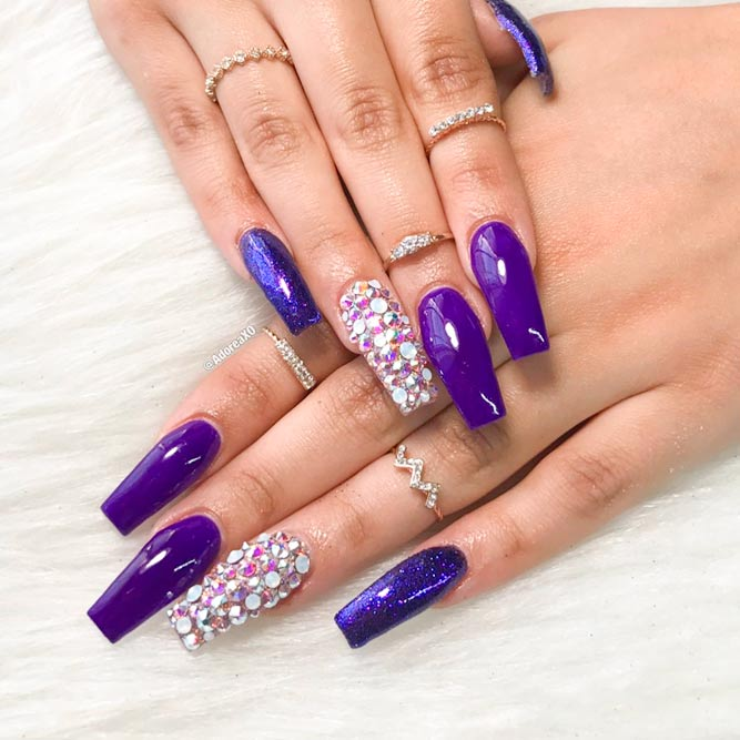 Gorgeous Rhinestones on Your Coffin Style Nails picture 1