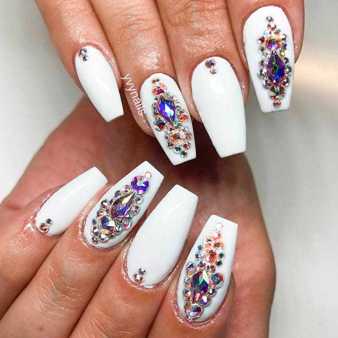 Gorgeous Rhinestones on Your Coffin Style Nails picture 2