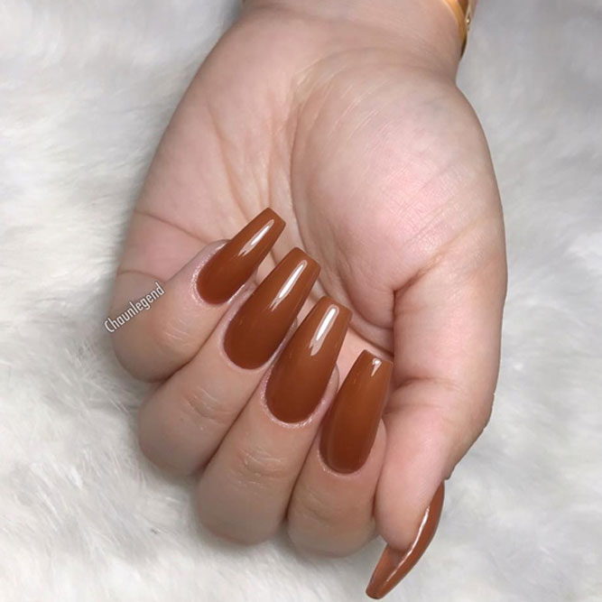 Elegant Coffin Acrylic Nails in Fall Shades picture 2