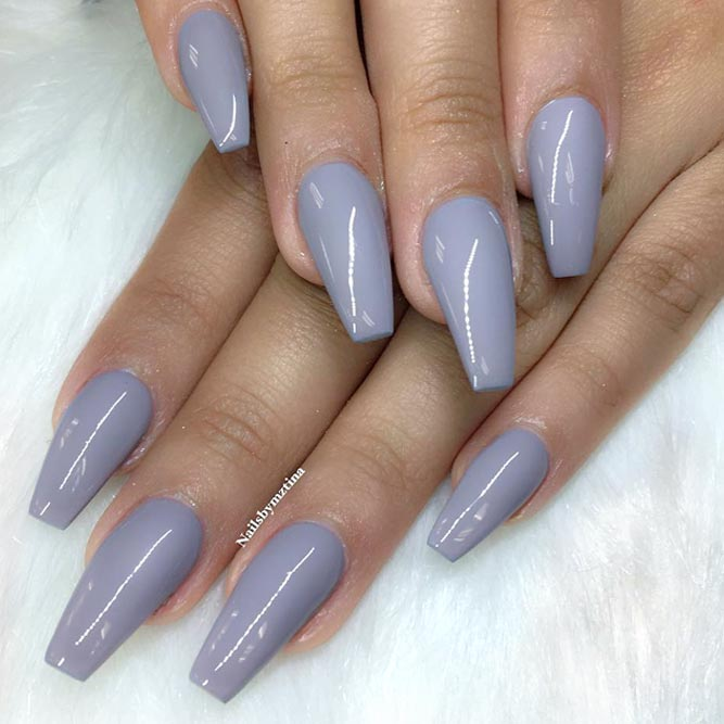 Gorgeous Grey Coffin Nails and No One Can Stop Looking at You picture 1