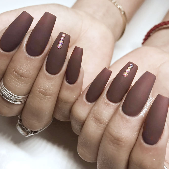 Elegant Coffin Acrylic Nails in Fall Shades picture 1