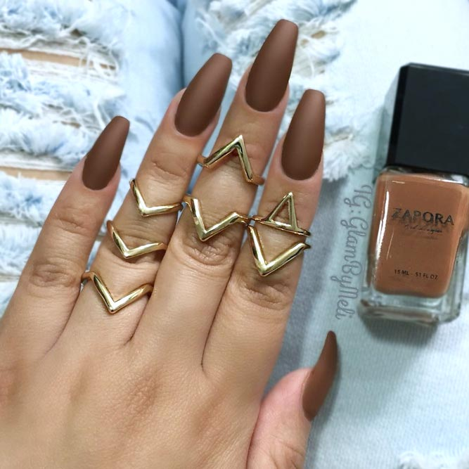 Elegant Coffin Acrylic Nails in Fall Shades picture 3
