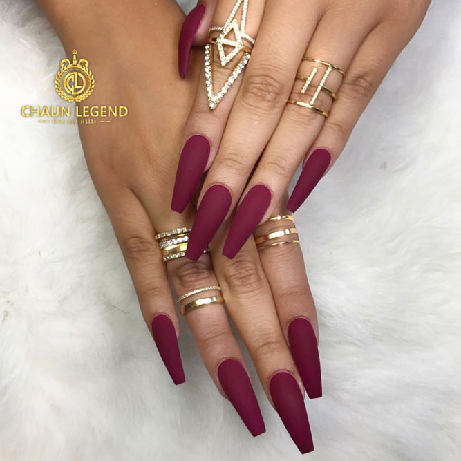 Shades of Maroon for a Coffin Nail Shape picture 2