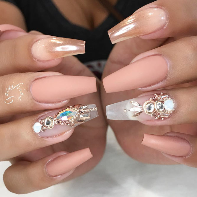 Matte Peachy on Your Coffin Shape Nails Looks Temperate picture 1