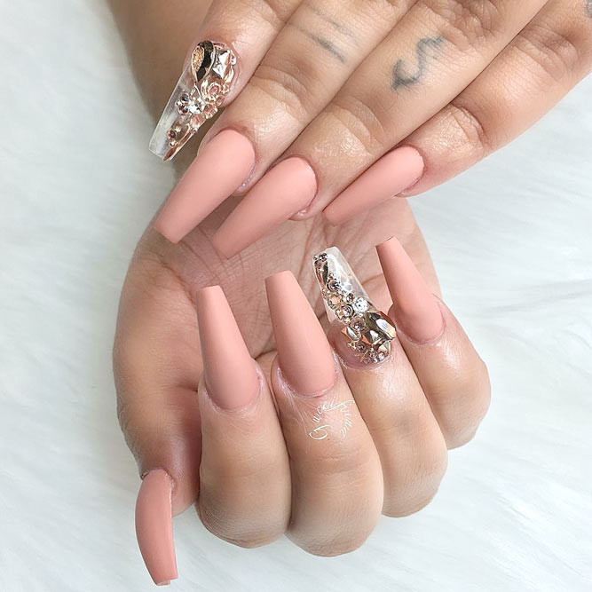 Matte Peachy on Your Coffin Shape Nails Looks Temperate picture 3