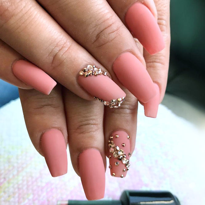 Matte Peachy on Your Coffin Shape Nails Looks Temperate picture 2
