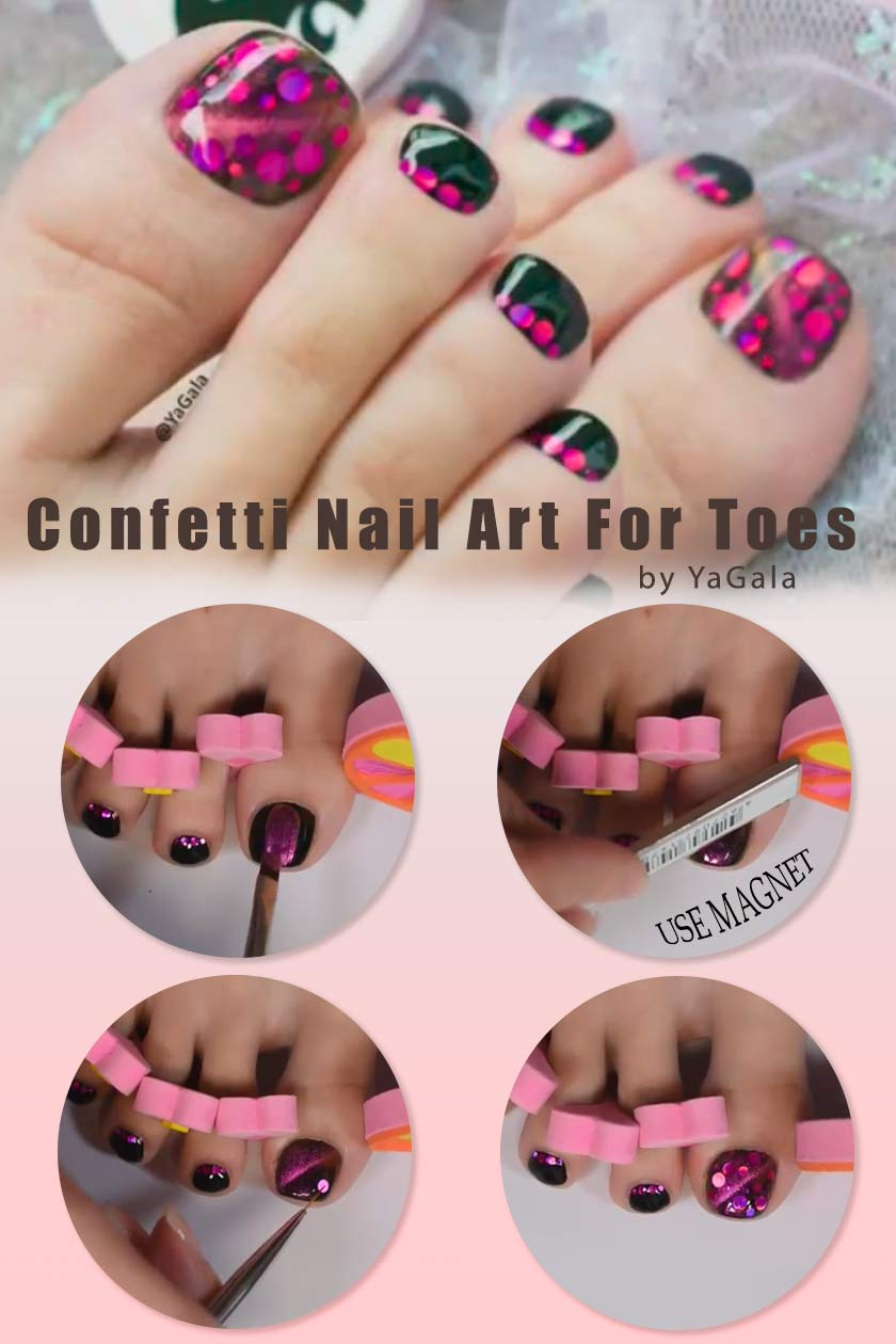 Magnetic powder And Confetti Nail Art #confettinails #cateyesnails