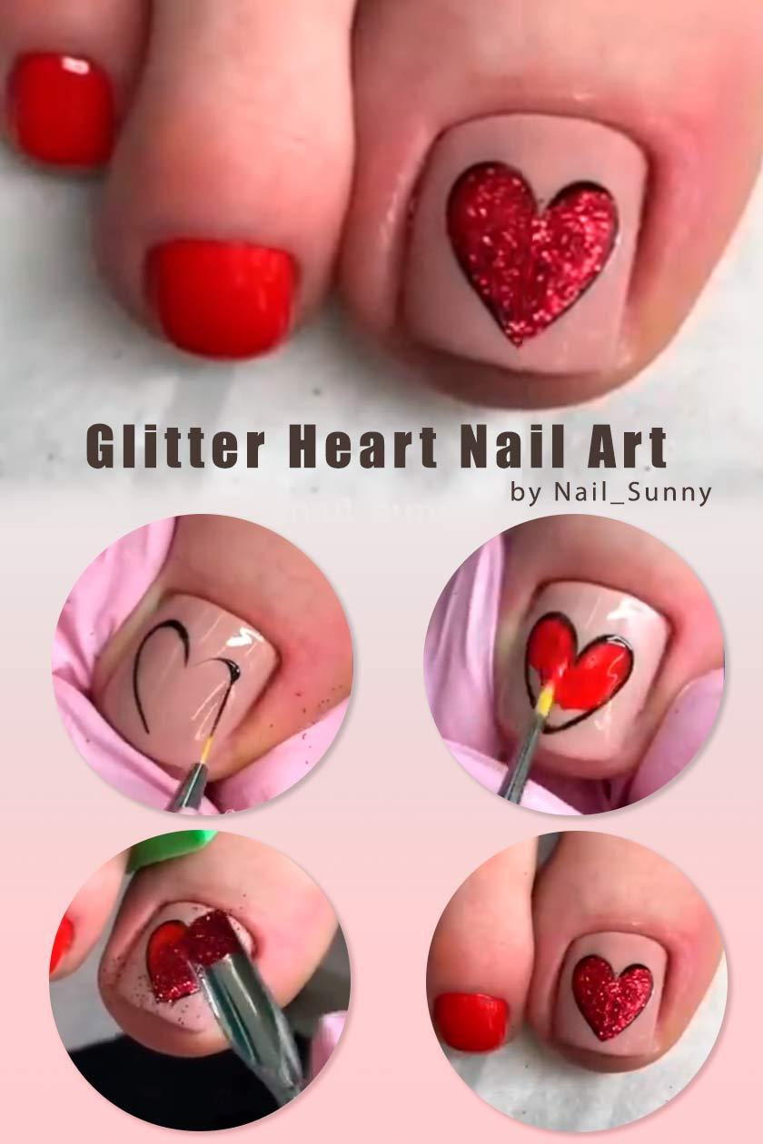 Glitter Heart Nail Art #glitternails #nailtutorial