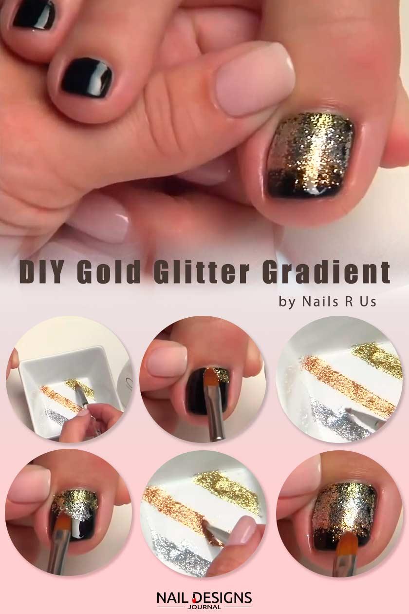 Gold Glitter Gradient Nails Design #glitternails #ombrenails