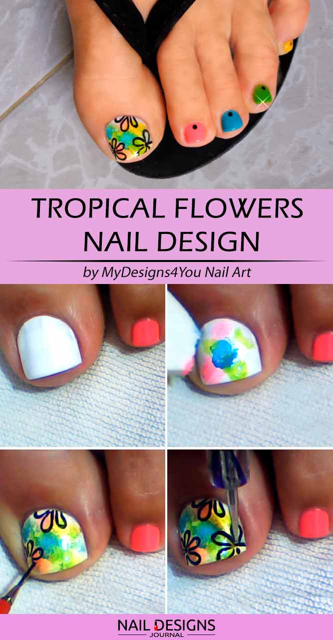Summer Tropical Flowers Toe Design