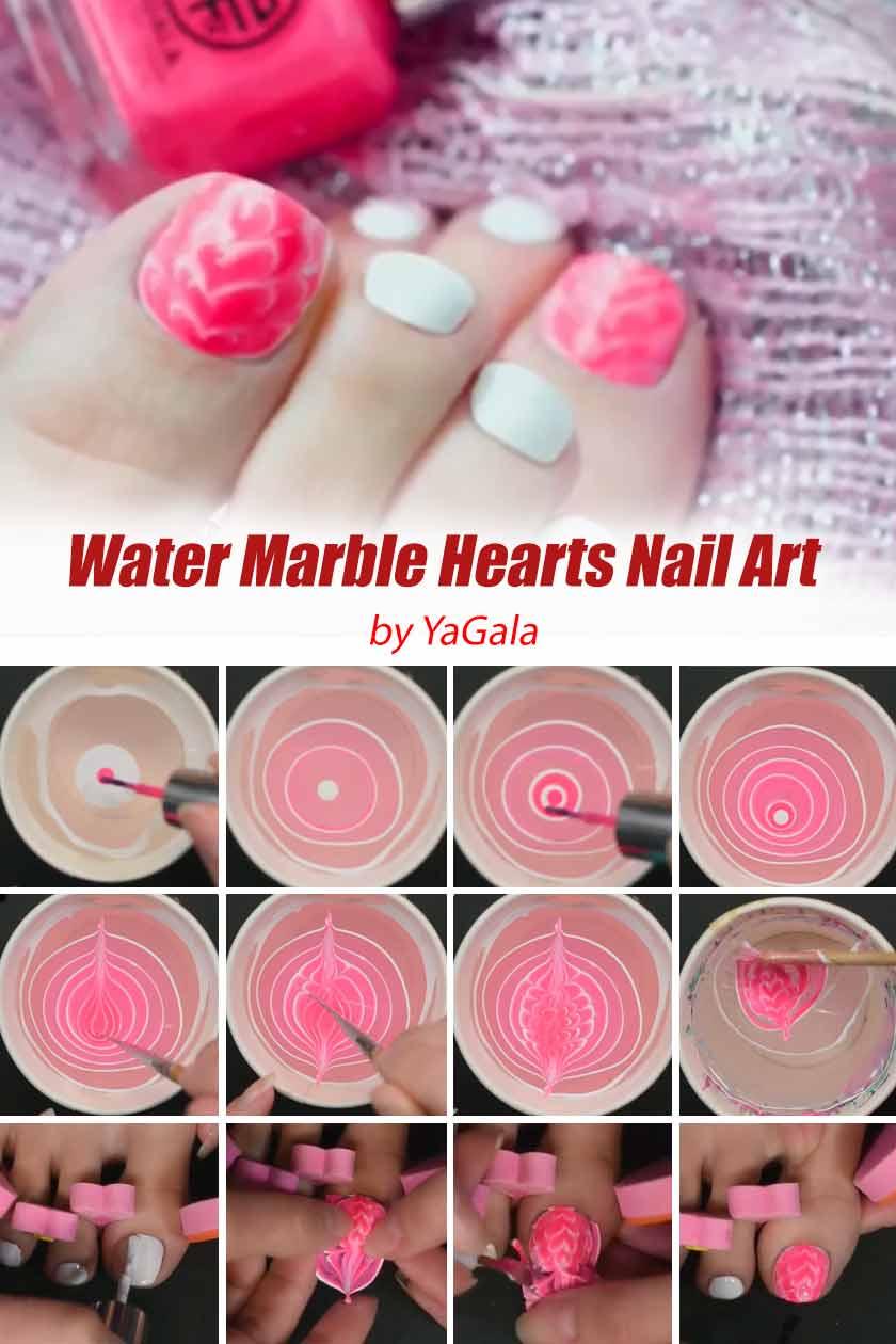 Water Marble Hearts Nail Art #pinknails #watermarblenails