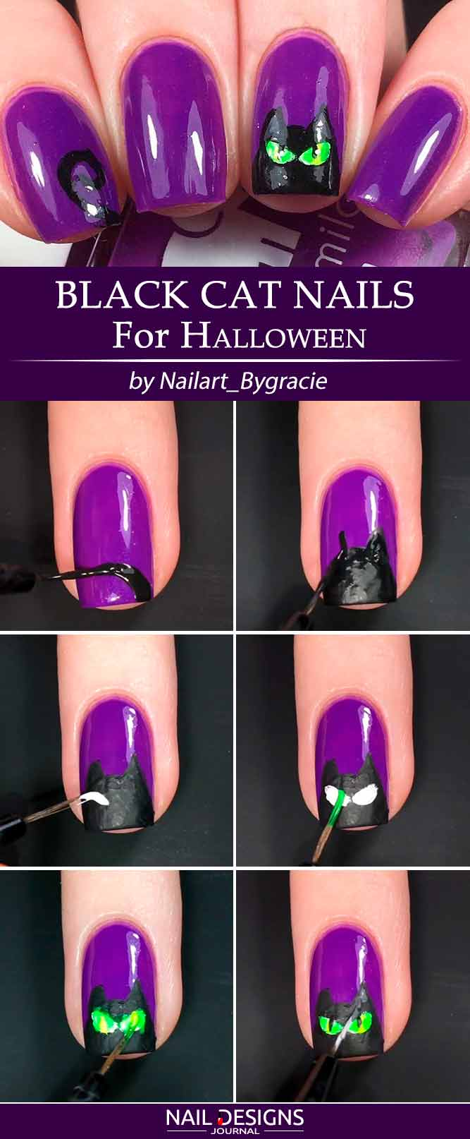 Easy Halloween Nails Tutorials | NailDesignsJournal.com