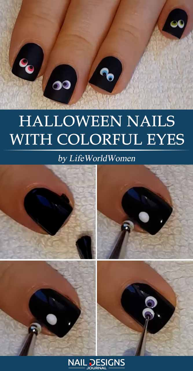 Halloween Nails with Colorful Eyes