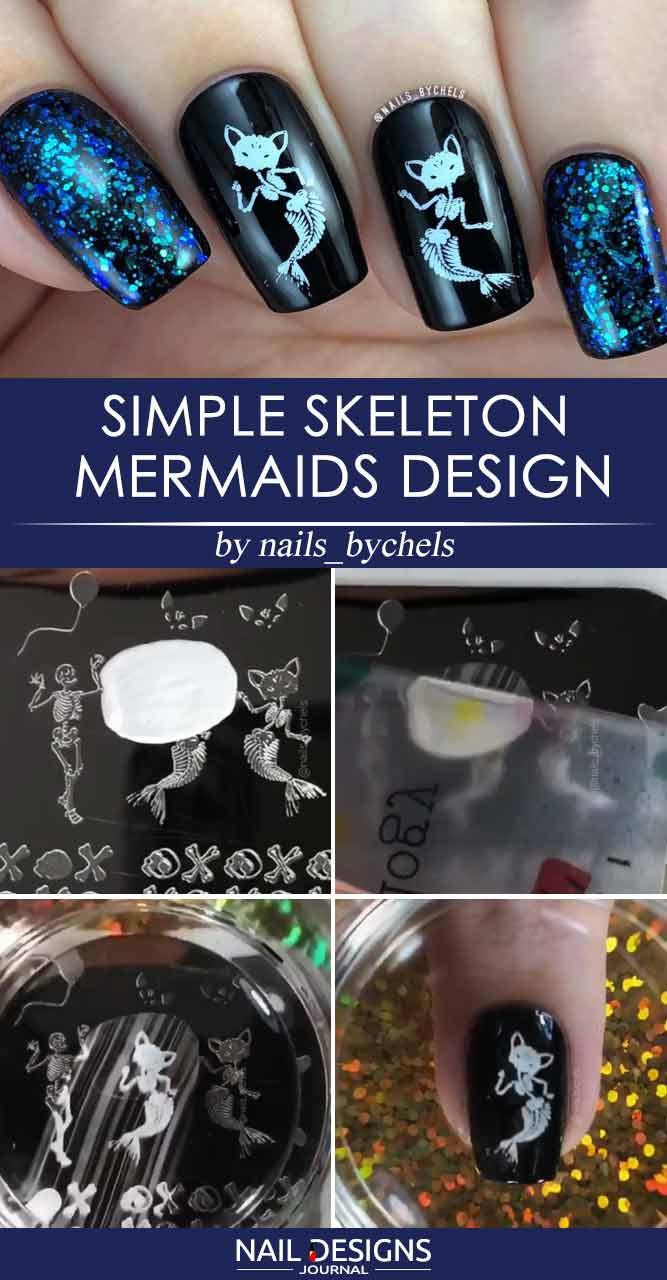 Simple Skeleton Mermaids Design