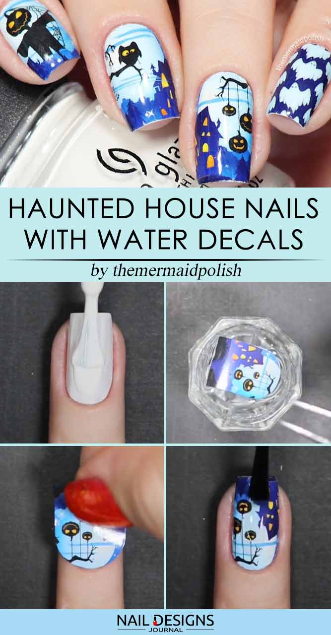 Haunted House Nails With Water Decals