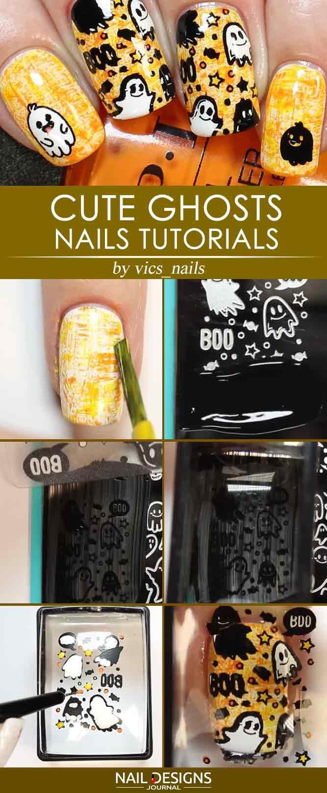Cute Ghosts Nails Tutorial
