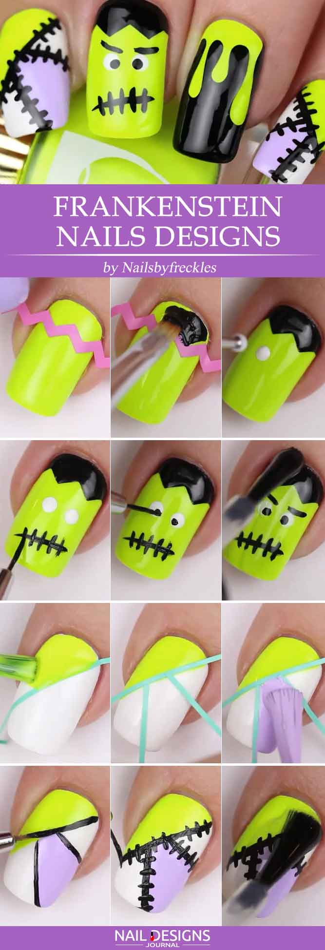 10 easy halloween nails tutorials naildesignsjournal frankenstein nails designs prinsesfo Gallery