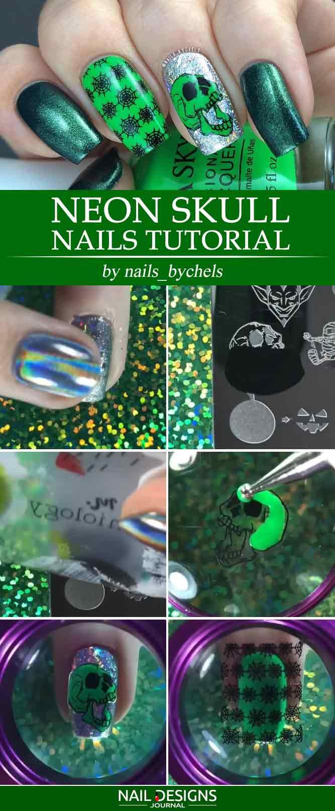 Neon Skull Nails Tutorial